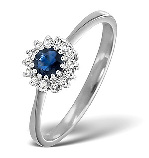 9K White Gold DIAMOND AND SAPPHIRE RING 0.07CT