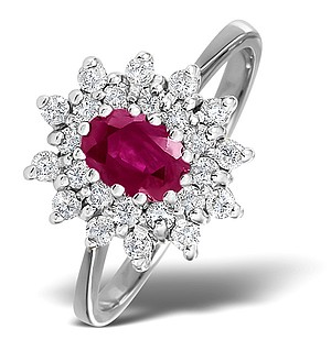 9K White Gold DIAMOND AND RUBY RING 0.35CT