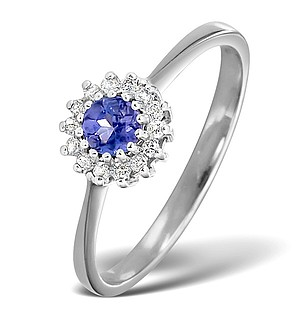 9K White Gold DIAMOND AND TANZANITE RING 0.07CT