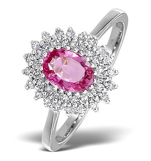 9K White Gold DIAMOND AND PINK SAPPHIRE RING 0.30CT