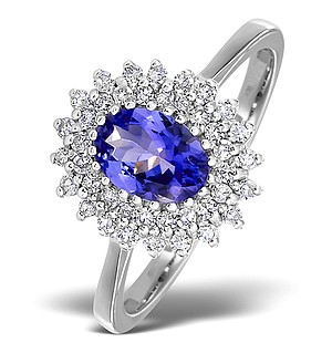 9K White Gold DIAMOND AND TANZANITE RING 0.30CT