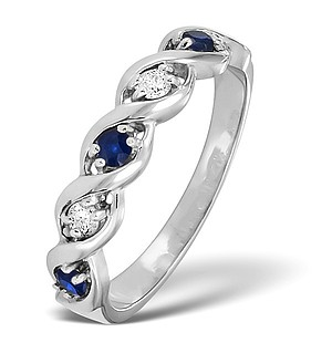 9K White Gold DIAMOND AND SAPPHIRE RING 0.08CT