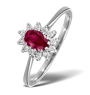 18K Gold White Diamond and Ruby Ring 0.18ct