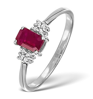 Ruby 6 x 4mm And Diamond 18K White Gold Ring