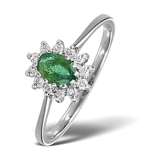 9K White Gold DIAMOND AND EMERALD RING 0.18CT