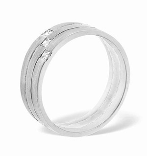 Lauren 3 Stone Palladium Diamond Wedding Ring 0.07CT G/VS