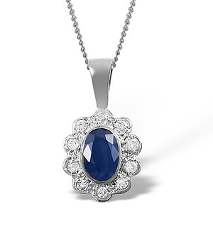 18K White Gold Diamond and Sapphire Cluster Pendant