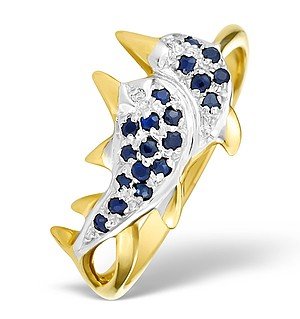 9K Gold Diamond Pave Dolphin Design Ring - E4981