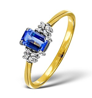 18K Gold Diamond and Tanzanite Ring 0.06ct