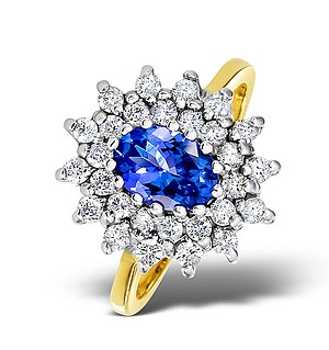 18K Gold Diamond and Tanzanite Ring 0.56ct