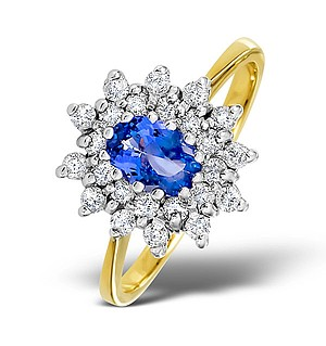 18K Gold Diamond and Tanzanite Ring 0.36ct