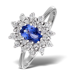 18K White Gold Diamond and Tanzanite Ring 0.36ct