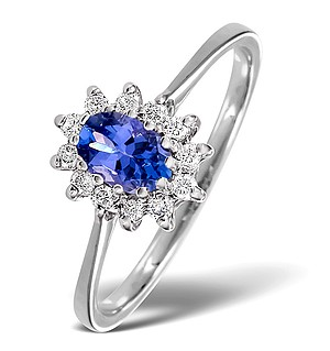 18K White Gold Diamond and Tanzanite Ring 0.18ct