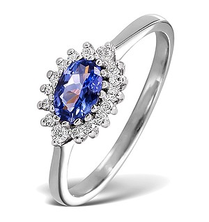 18K White Gold Diamond and Tanzanite Ring 0.14ct