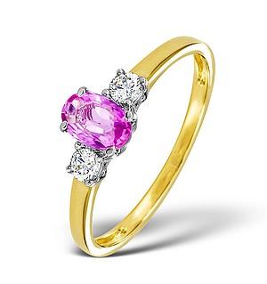 18K Gold Diamond Pink Sapphire Ring 0.20ct