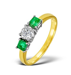18K Gold Diamond Emerald Ring 0.33ct