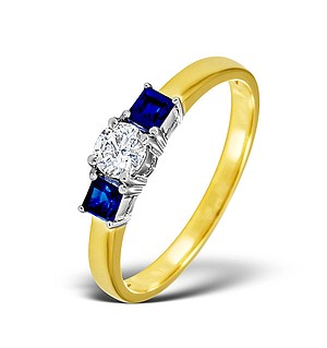 18K Gold Diamond Blue Sapphire Ring 0.33ct