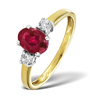 18K Gold Diamond Ruby Ring 0.20ct R 7x5ov