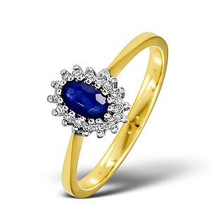 18K Gold Diamond and Sapphire Ring 0.05ct