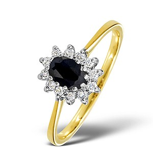 18K Gold Diamond and SAPPHIRE Ring 0.18ct