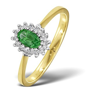 18K Gold Diamond and Emerald Ring 0.05ct
