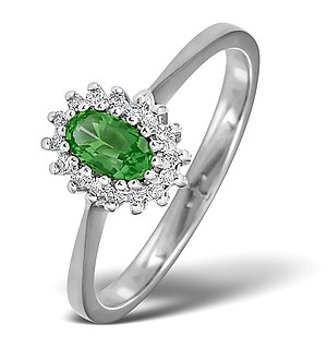 18K White Gold Diamond and Emerald Ring 0.05ct