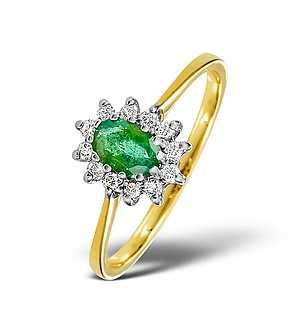 18K Gold Diamond and Emerald Ring 0.18ct