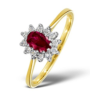 18K Gold Diamond and Ruby Ring 0.18ct