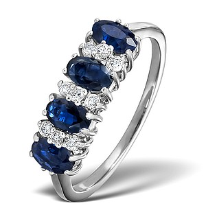 18K White Gold Diamond and Sapphire Ring 0.14ct