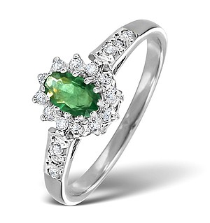18K White Gold Diamond and Emerald Ring 0.14ct