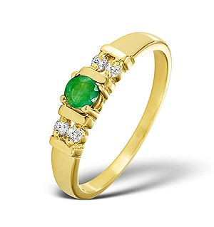 Emerald 3.75mm And Diamond 9K Gold Ring