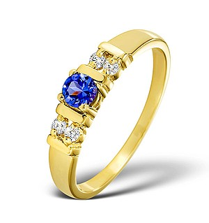 18K Gold Diamond and TANZANITE Ring 0.10ct
