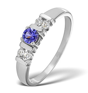 9K White Gold DIAMOND TANZANITE RING 0.10CT
