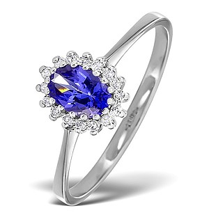 18K White Gold Diamond and Tanzanite Ring 0.08ct