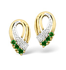 EMERALD & 0.01CT DIAMOND EARRINGS 9K YELLOW GOLD