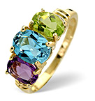 MULTI GEM 3 STONE AND DIAMOND 9K YELLOW GOLD RING