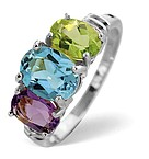 MULTI GEM 3 STONE AND DIAMOND 9K WHITE GOLD RING