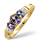 Tanzanite 0.55CT And Diamond 9K Gold Ring