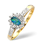 OPAL TRIPLET 5 X 3MM AND DIAMOND 9K YELLOW GOLD RING