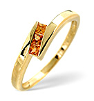 9K GOLD PRINCESS CUT YELLOW SAPPHIRE TWIST RING