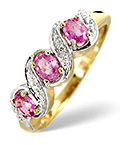 0.60CT PINK SAPPHIRE AND DIAMOND RING 9K YELLOW GOLD