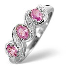 9K WHITE GOLD DIAMOND AND PINK SAPPHIRE RING 0.01CT