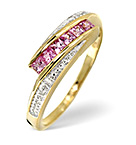PINK SAPPHIRE AND 0.01CT DIAMOND RING 9K YELLOW GOLD
