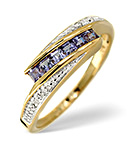 TANZANITE 0.34CT AND DIAMOND 9K GOLD RING