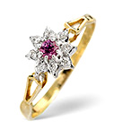 2.75MM PINK SAPPHIRE AND DIAMOND RING 9K YELLOW GOLD