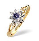 TANZANITE 2.75MM AND DIAMOND 9K GOLD RING