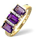 AMETHYST 1.50CT AND DIAMOND 9K GOLD RING