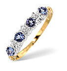 TANZANITE 0.40CT AND DIAMOND 9K GOLD RING