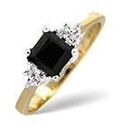 Sapphire 5 x 5mm And Diamond 9K Gold Ring