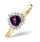 AMETHYST 5MM AND DIAMOND 9K GOLD RING